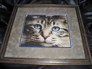 Cross Stitch Double Matted Framed Cat - Blue Eyes Grey-frame Free Shipping Usa