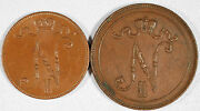 Finland - Russian Finland - Two Coins - 1916 5 Pennia And 1905 10 Pennia - Xf