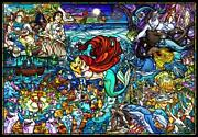 1000 Piece Jigsaw Puzzle Little Mermaid Story Stained Glass [pure White]