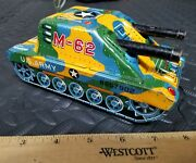 Vintage Tin M-62 Battery Op Tank By Plaything Tin Toy Lot Made In Japan Old Toy
