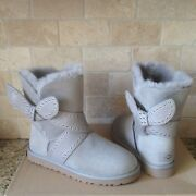 Ugg Mabel Grey Gray Suede Grommet Studs Bailey Bow Short Boots Size Us 7 Womens