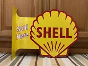 Shell Sold Here Gas Oil Vintage Style Flange Garage Man Cave Metal Signs