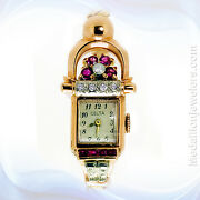 Vintage Retro 14k Rose Gold Diamond And Ruby Ladyand039s Watch