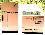 Mid Century Vintage Pink Stove And Refrigerator Play Set 1950s