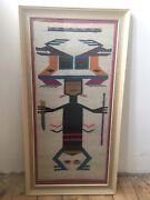 Fabric Textile South American Sampler Unsigned On Reverse Weaving Ecuador 1973
