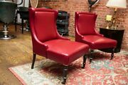 French Styled Custom Made Red Leather Chairs Pre-owned In Excellent Condition
