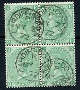 1871 1/- Green Plate 5 Wmk Spray A Used Block Of Four. S.g. 117.