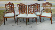 Set Of 6 Oak Pierced Back Dining Chairs 2arm  6side 19th Century