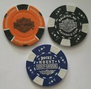 Lot Of 3 Harley Davidson Poker Chips Indianapolis In Raleigh And Rocky Mount Nc