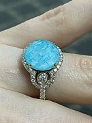 Doves 18k Yellow Gold Quartz And Amazonite 3 Stone Cocktail Ring Size 6.5