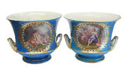 Pair Sevres France Hand Painted Double Handled Planters / Wine Coolers 19th C.