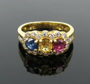 Vintage 0.50ct Diamond 0.60ct Ruby And Sapphire 18k Yellow Gold Ring Size 3.75