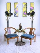 60s Mid Century James Mont Style Boho Solid Wood Chinoiserie Accent Ming Chairs