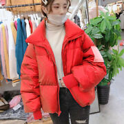 Lady Puffer Jacket Coat Loose Stand Collar Shiny Padded Quilt Parka Outwear Tops