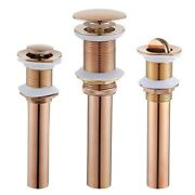 Rose Gold Basin Drain Copper Pop Up Flip Top Waste Excrete Without Overflow Hole