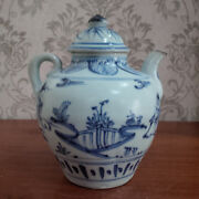 Old And Antique Chinese Blue And White Hongzhi Landscape Teapot Ewer