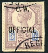 1902 5d Dull Purple And Blue O.w. Official Used. S.g. 034.