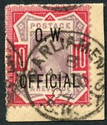 1902 10d Dull Purple And Carmine O.w. Official Used. S.g. 035.
