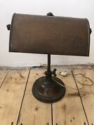 Antique Old Copper And Brass Bankers Desk Lamp With Locking Cogs