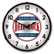 Retro Deep Rock Gas Game Room Man Cave Backlit Led Lighted Wall Clock New