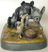 """Rare Original Antique F. Bergman """"two Dogs"""" Cold Painted Austrian Inkwell"""
