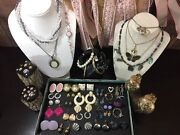 P Vintage Jewelry Lot Totally 80's Bracelet Necklace Brooch Pin Earrings Sets 42