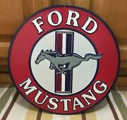 Ford Mustang Embossed Metal Shelby Cobra Man Cave Garage Shop Red White Blue
