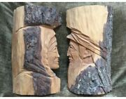 """Set Of 2 Large French Canadian Wood Carving Sculptures St. Jean Port Joli 15"""""""