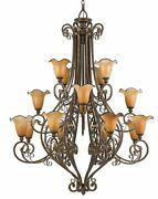Traditional Quoizel Lighting Bronze Chandelier Gorgeous Work Of Art Amber Glass
