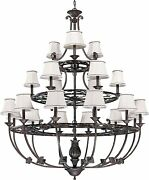 Distressed Bronze Finish 21 Light Chandelier Natural Linen Shades Nuvo Lighting