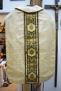 + Old Embroidered Fiddle Back Vestment And Stole - 42 Fb13 Church Priest Robes