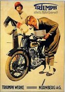 Old German Poster For Triumph Motorcycles 1920s Art Print Wall Art