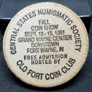 Wooden Nickel Central States Numismatic Society 1991 Fall Coin Show Orange