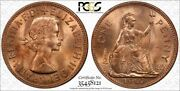 1967 Great Britain One Penny Pcgs Ms64rd Bu Uncirculated Coin In High Grade