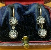 Antique Victorian 15ct Gold Mine Cut Diamond Earrings 1880and039s G Vs 1.20ct