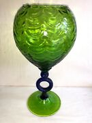 Mid Century 12 Green And Cobalt Art Glass Footed Circle Base Stem Vase