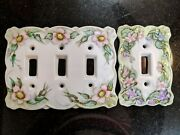 Pair Of Beautiful Antique Hand Painted Ceramic Light Switch Covers