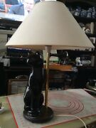 Chinese Porcelain Cat Lampe Working Condition
