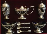 1859 English Silver Salt Pepper Mustard Jar Two Dishes, Spoons Master Box