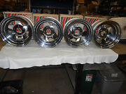 15 X 8 Vintage Nos Mangelo Chrome Wheel Rims Set Of 4 18-58550