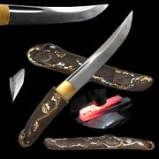 Fish Short Sword Knife Tanto Shihozume Folded Combat Steel Clay Tempered 820