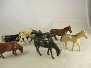 Metal Toy Cows And Horse England, Usa Lot Of 7
