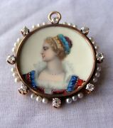 Gorgeous Victorian French Enamel Pendant Brooch