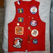 Boy Scouts Tiger Cub Bsa Scout Red Felt Patch Vest W/patches And Pins