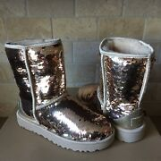 Ugg Classic Short Gold Sparkles Sequin Sheepskin Boots Size Us 7 Womens