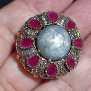20.40ct Natural Unheated Gray Star Sapphireruby Ring 925 Silver.size 9.75.