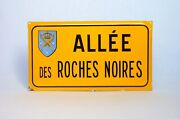 Authentic Vintage French Enamelware Street Sign, Alley Of The Black Rocks