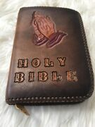 Vintage Hand Tooled Embossed Holy Bible Rare Religion Religious Leather Cover