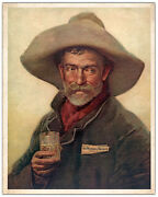 Cowboy Painting Ca1880 Ad Wiedeman Beer Restored Lithograph Photoprint 3 Sizes