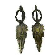 2 Gothic Dragon Heads Brass Door Knobs Handle Finials Architectural Reclaimed